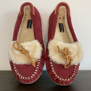 Sperry suede fuzzy slippers